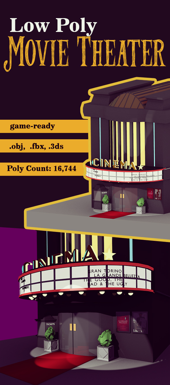 Low Poly Retro Movie Theater - 3DOcean Item for Sale