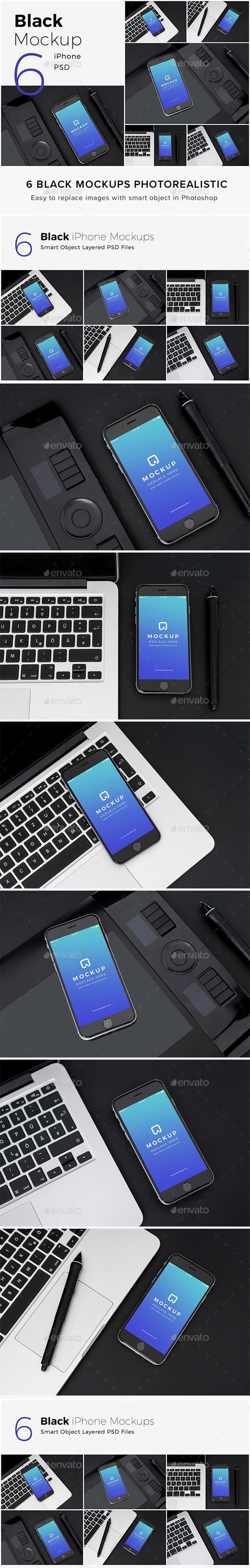Black Mockups iPhone Pack - Product Mock-Ups Graphics