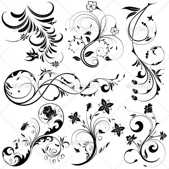 Collect Floral element - Flourishes / Swirls Decorative