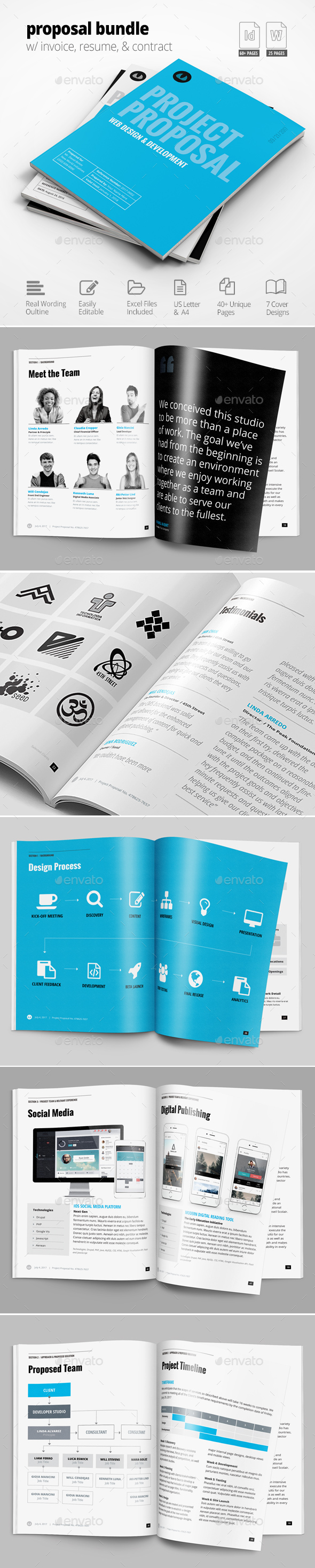 Business Proposal Template w/ Resume & Invoice 60+ Pages - Proposals & Invoices Stationery