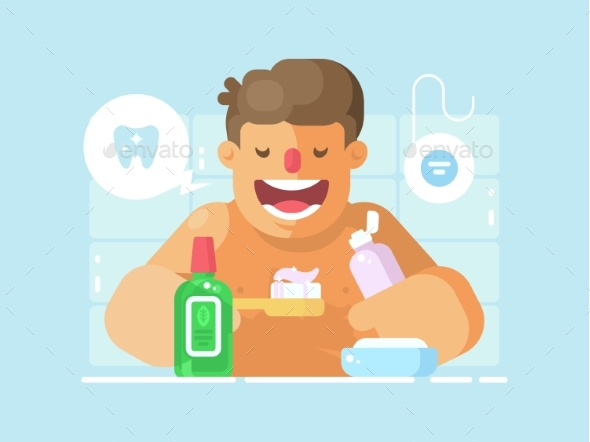 Young Guy Brushing Teeth with Whitening Paste - People Characters