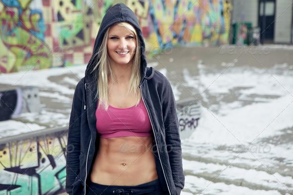 Portrait of fit confident woman - Stock Photo - Images