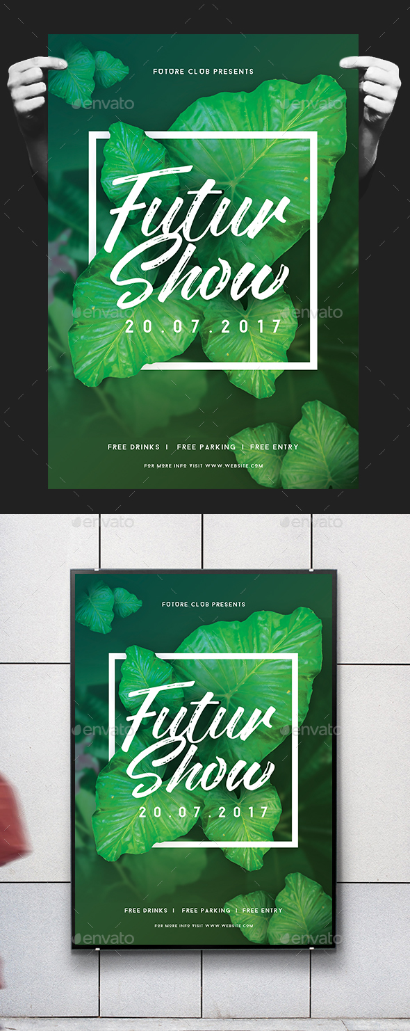 Minimal Futuristic Floral Flyer / Poster - Clubs & Parties Events