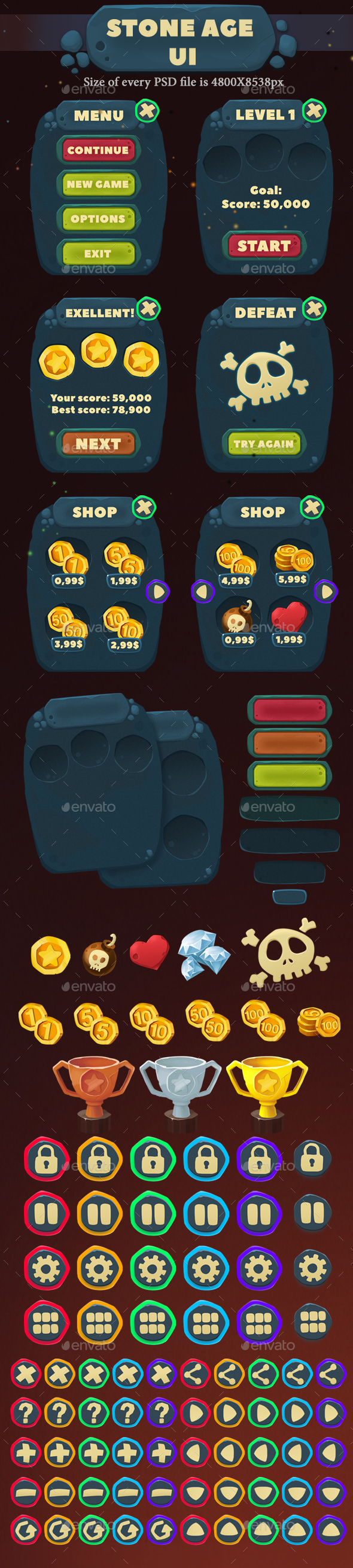 Stone Age UI - User Interfaces Game Assets