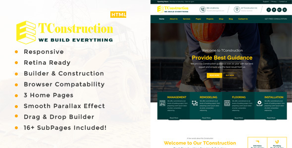TConstruction, Architecture & Building Business HTML Template