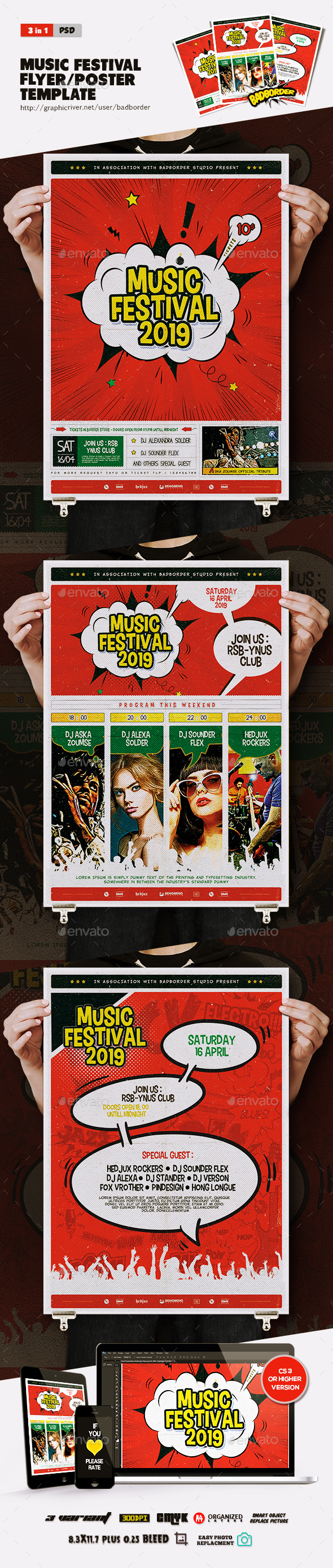 Music Festival Comic Flyer/Poster - Concerts Events
