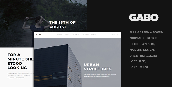 Gabo - Minimalist & Full-Screen WordPress theme - Personal Blog / Magazine