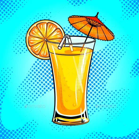 Summer Cocktail Pop Art Vector Illustration - Food Objects