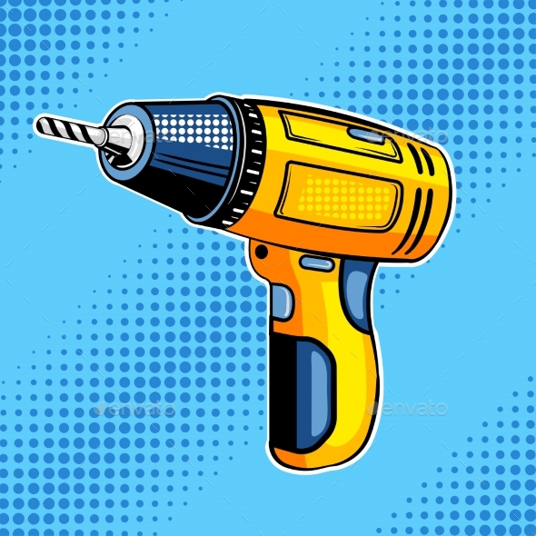 Screw Gun Comic Book Style Vector Illustration - Man-made Objects Objects