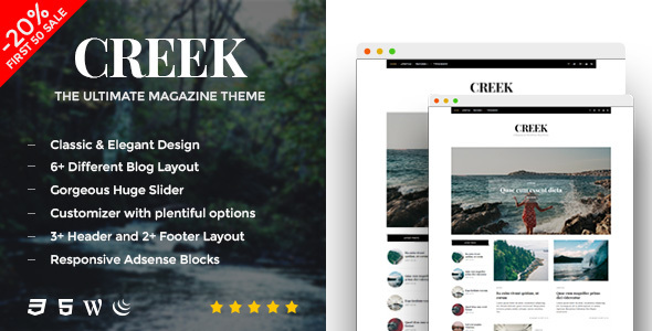 Creek – Classic Elegant Magazine WordPress Theme