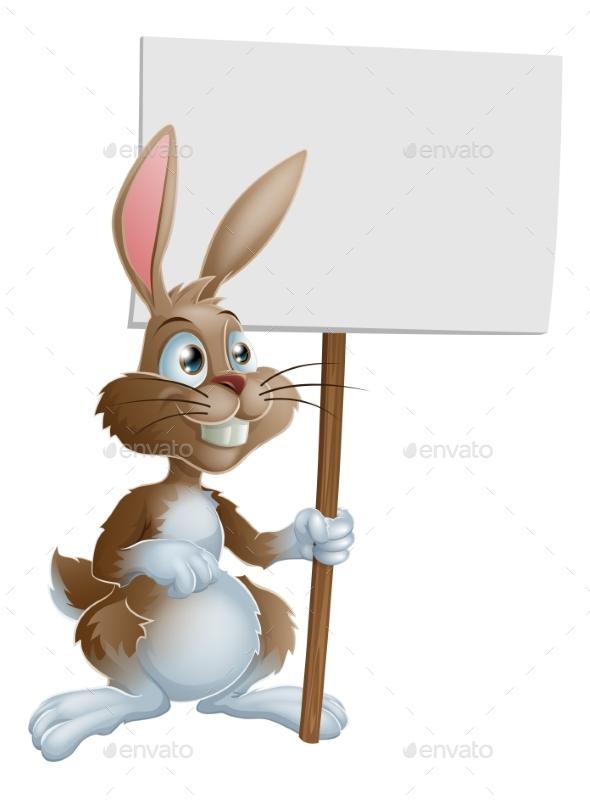 Rabbit Holding Sign Cartoon Illustration - Animals Characters