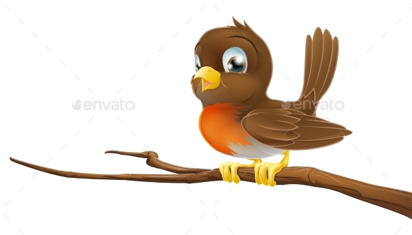 Cute Robin Sitting on a Tree Branch - Animals Characters