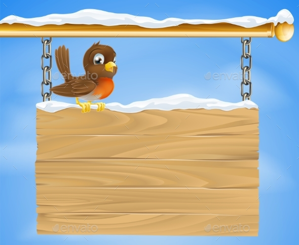 Christmas Robin on Wooden Sign - Miscellaneous Vectors