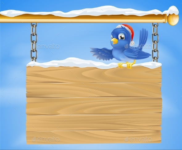 Santa Hat Bluebird Snowy Sign - Christmas Seasons/Holidays