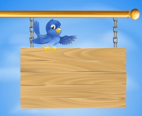 Blue Bird on Wooden Sign - Miscellaneous Vectors