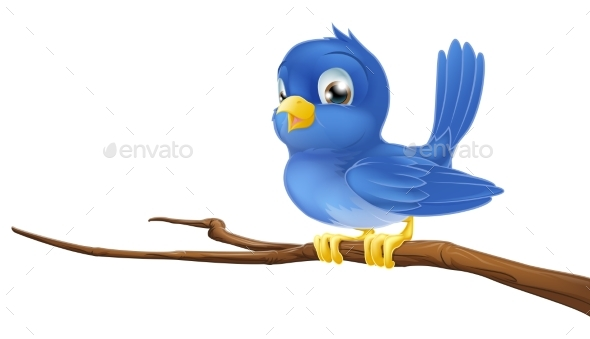 Bluebird on Tree Branch - Animals Characters
