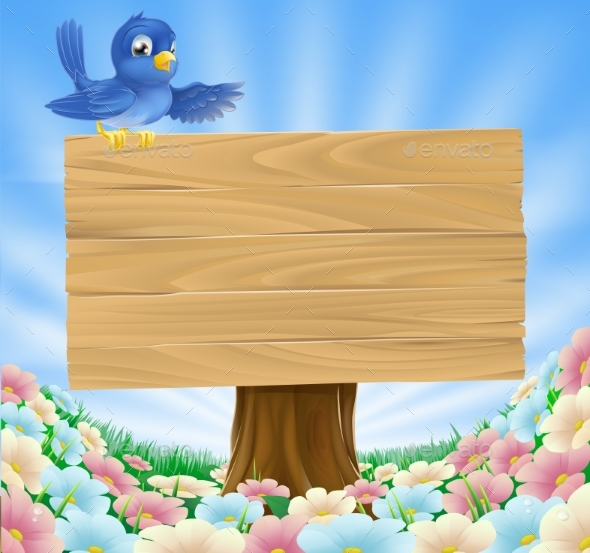 Blue Bird Wooden Nature Sign - Animals Characters