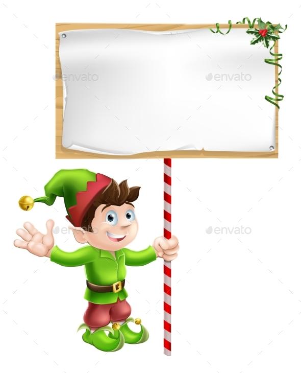 Christmas Elf with Sign - Christmas Seasons/Holidays