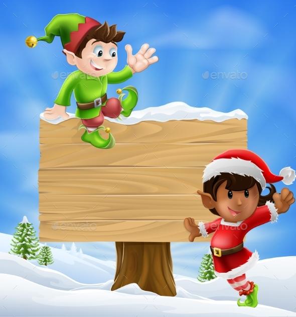 Christmas Elves and Sign - Christmas Seasons/Holidays