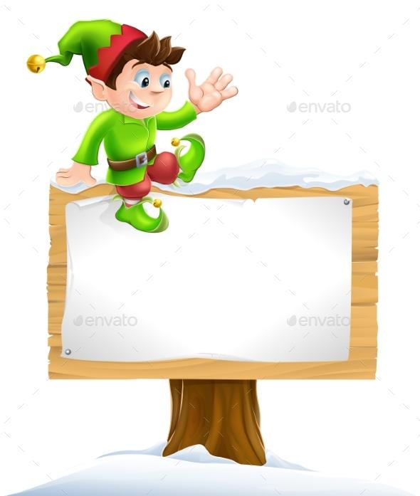 Elf on Snowy Sign - Christmas Seasons/Holidays
