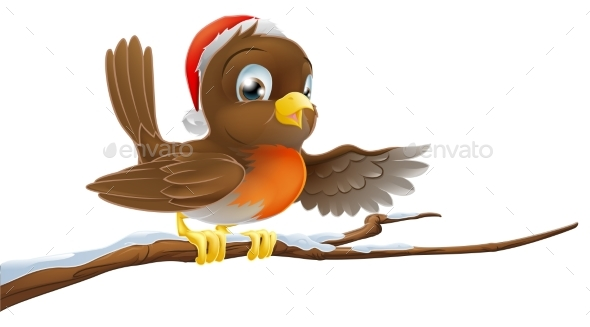 Christmas Robin on Snowy Branch - Animals Characters