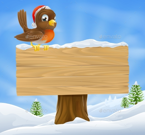 Christmas Robin Sign Background - Animals Characters