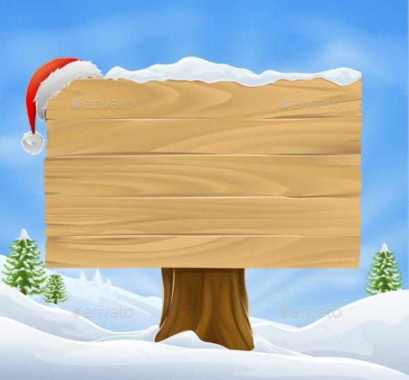Christmas Santa Hat Sign Background - Christmas Seasons/Holidays