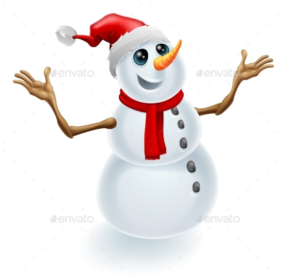 Christmas Snowman Wearing Santa Hat - Christmas Seasons/Holidays
