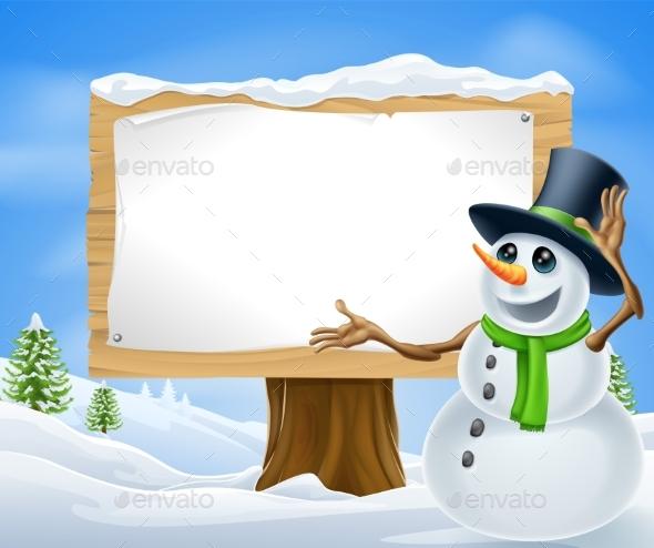 Christmas Snowman Sign - Christmas Seasons/Holidays