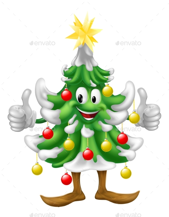 Christmas Tree Mascot Doing Thumbs Up - Christmas Seasons/Holidays