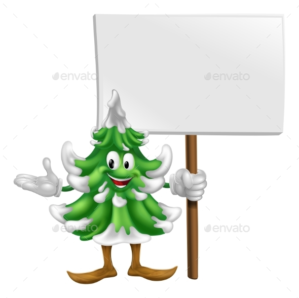 Christmas Tree Mascot with Sign - Miscellaneous Vectors