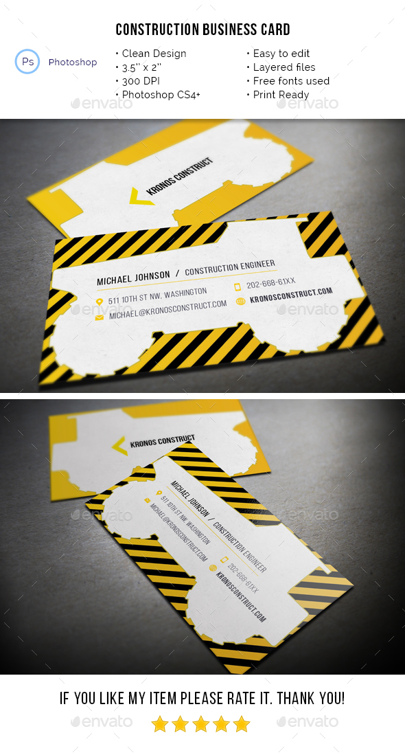 Construction Business Card - Industry Specific Business Cards