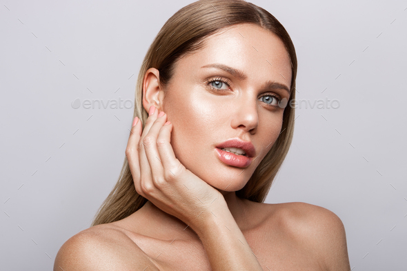 Beauty portrait of model with natural make-up - Stock Photo - Images