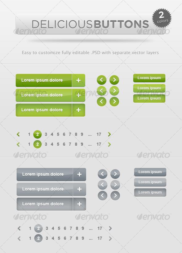 Delicious Buttons - Buttons Web Elements