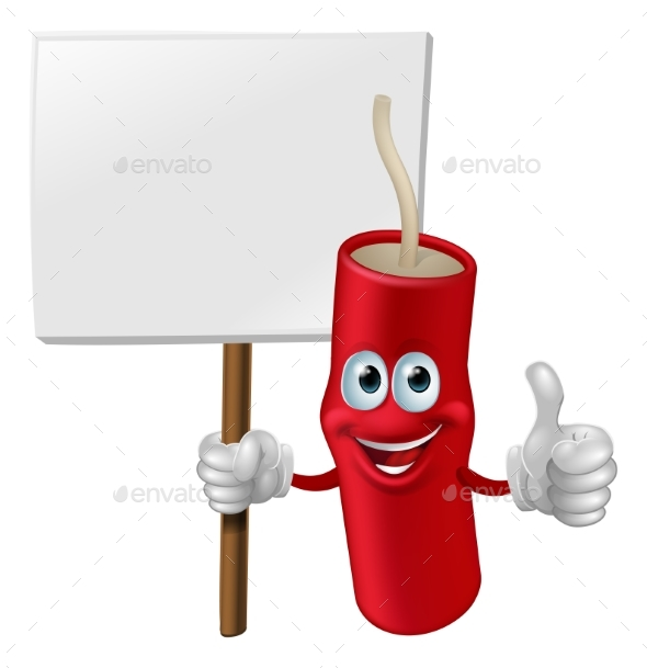 Fireworks Man Holding a Sign - Miscellaneous Vectors