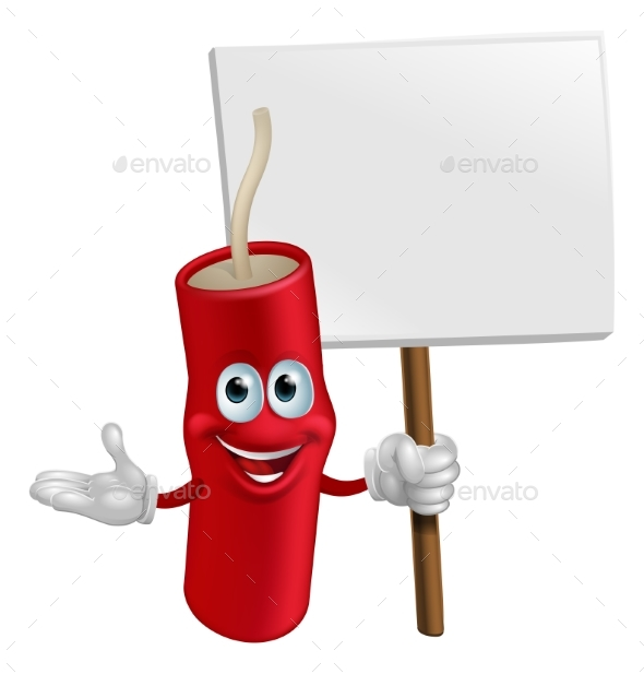 Dynamite Mascot Holding a Sign - Miscellaneous Vectors