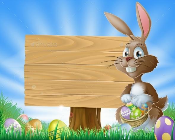 Easter Bunny Rabbit Background - Miscellaneous Vectors