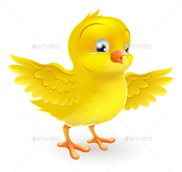 Happy Little Yellow Easter Chick - Animals Characters