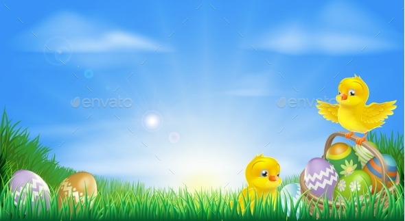 Yellow Easter Chicks and Eggs Background - Animals Characters