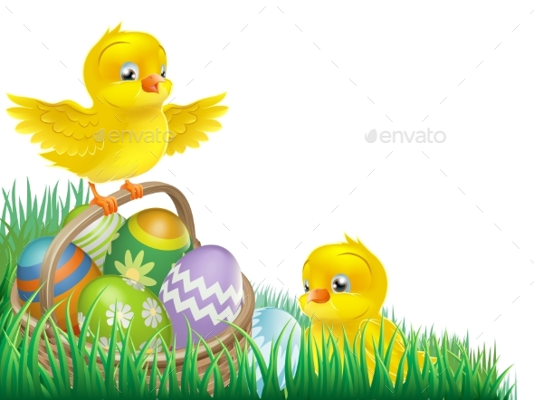 Easter Chicks and Egg Basket - Animals Characters