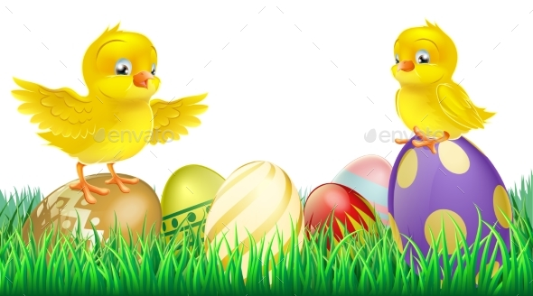 Cute Yellow Chicks on Easter Eggs - Animals Characters