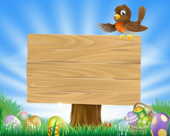 Easter Sign with Bird and Eggs - Animals Characters