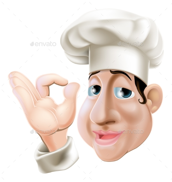 Happy Chef Doing Okay Gesture - Food Objects