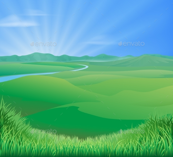 Rural Landscape Illustration - Landscapes Nature
