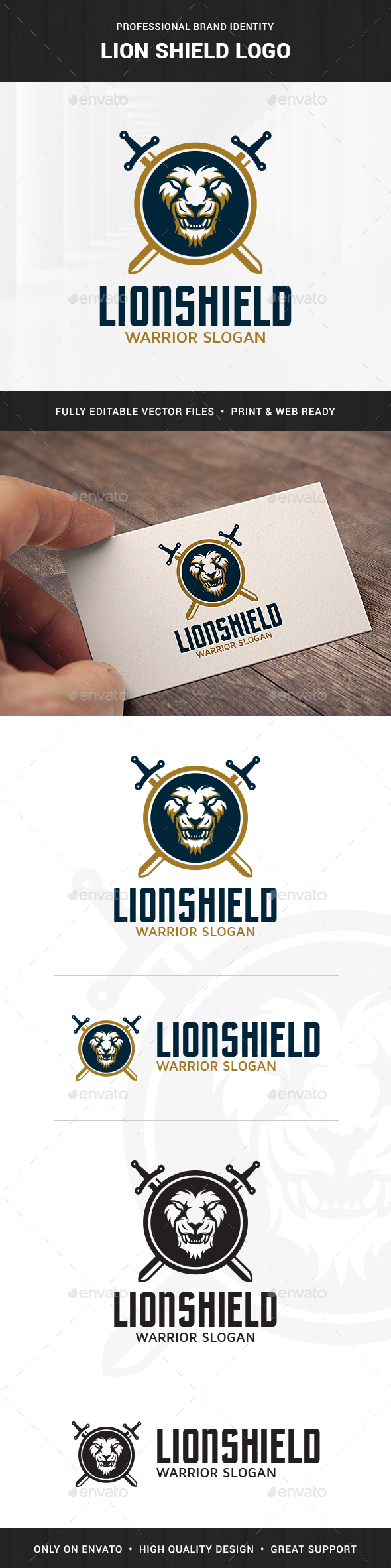 Lion Shield Logo Template - Animals Logo Templates