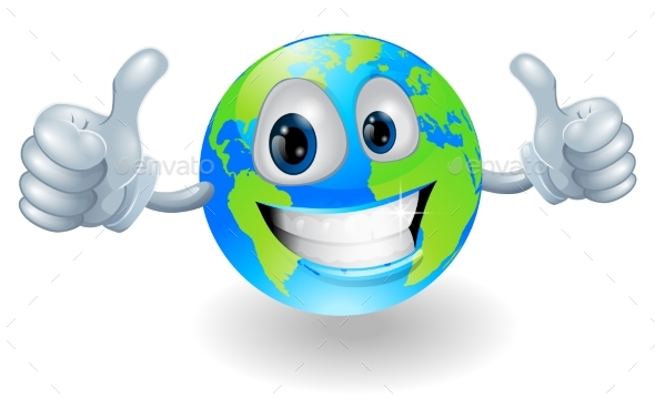 Globe Earth Mascot with Thumbs Up - Miscellaneous Vectors