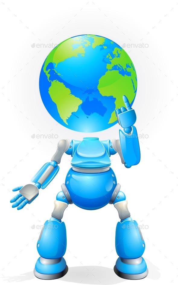 Globe Head Robot Concept - Miscellaneous Vectors