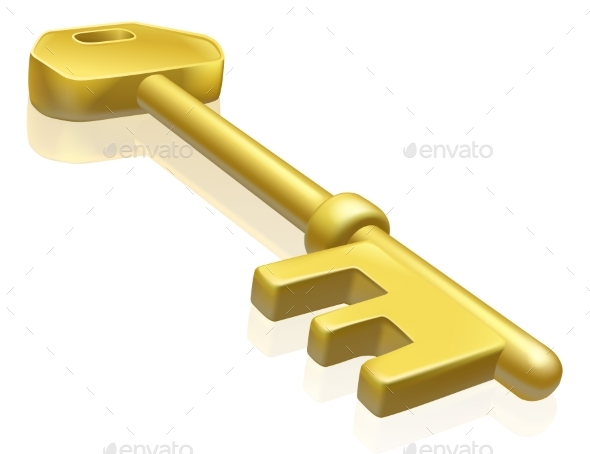 Brass or Gold Key Illustration - Man-made Objects Objects
