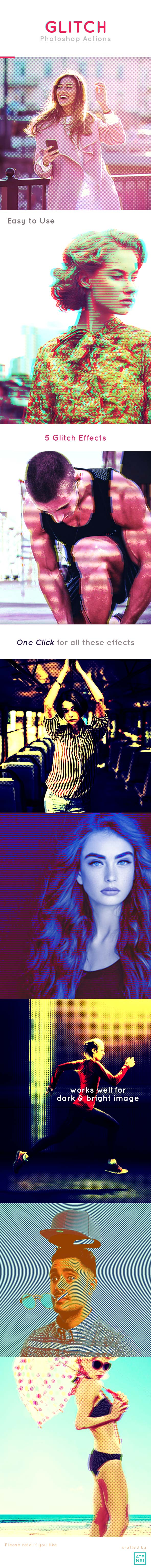 Glitch Actions Photoshop - Photo Effects Actions