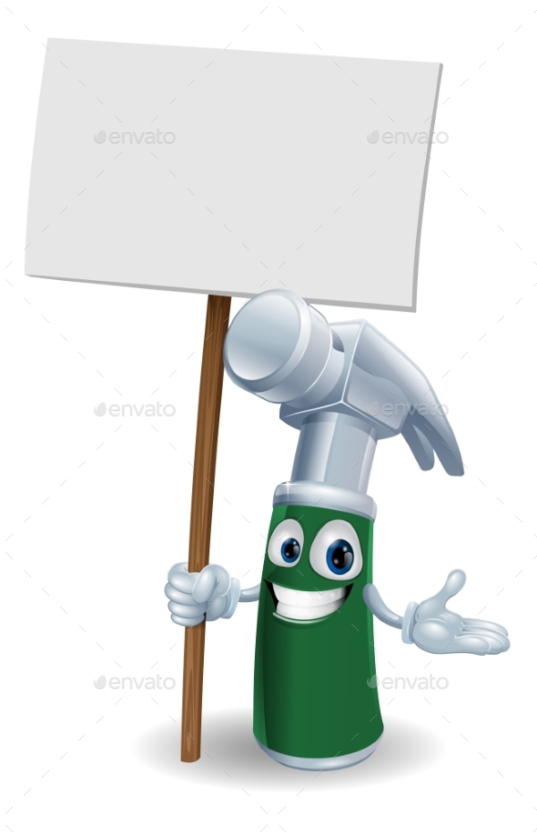 Hammer Mascot Holding Sign - Miscellaneous Vectors